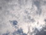 cloudy, blue sky.